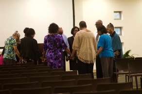 Members of Ebenezer Baptist Church gather before services for additional prayer. Photo by: Bekah York